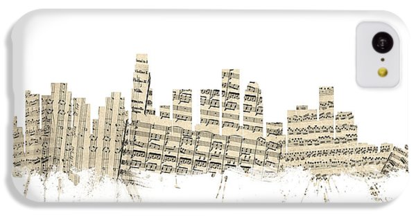 Los Angeles Skyline iPhone 5c Case - Los Angeles California Skyline Sheet Music Cityscape by Michael Tompsett