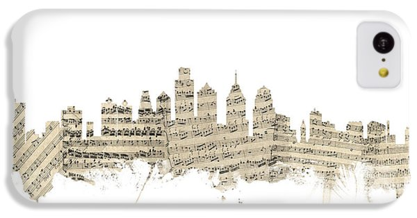 Philadelphia Pennsylvania Skyline Sheet Music Cityscape IPhone 5c Case by Michael Tompsett