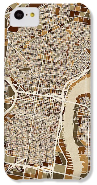 Philadelphia Pennsylvania Street Map IPhone 5c Case by Michael Tompsett