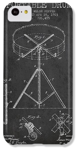 Drum iPhone 5c Case - Portable Drum Patent Drawing From 1903 - Dark by Aged Pixel