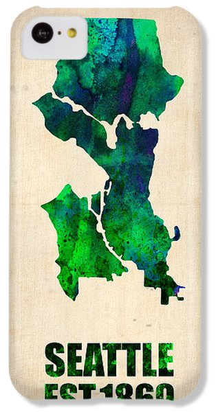 Seattle iPhone 5c Case - Seattle Watercolor Map by Naxart Studio
