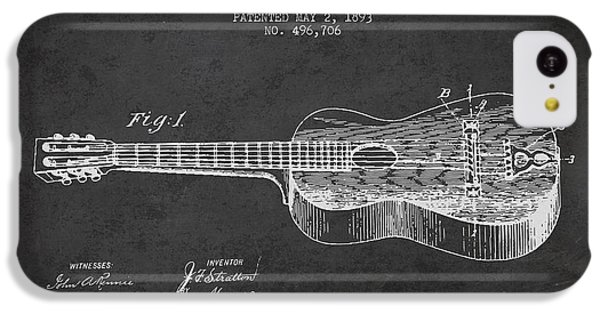 Guitar iPhone 5c Case - Stratton Guitar Patent Drawing From 1893 by Aged Pixel