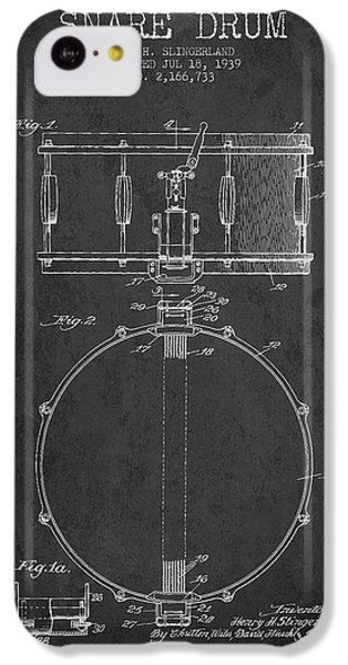 Drum iPhone 5c Case - Snare Drum Patent Drawing From 1939 - Dark by Aged Pixel