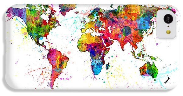 Planets iPhone 5c Case - Watercolor Political Map Of The World by Michael Tompsett