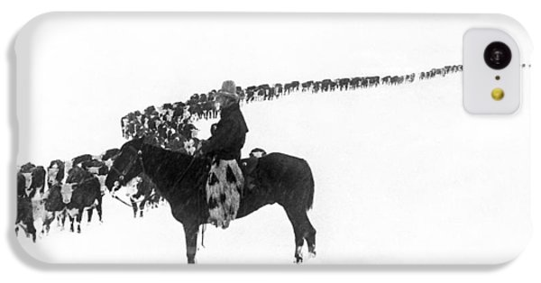 Cow iPhone 5c Case - Wintertime Cattle Drive by Charles Belden