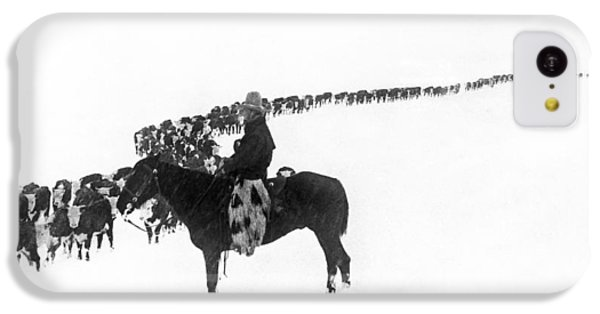 Cow iPhone 5c Case - Wintertime Cattle Drive by Underwood Archives  Charles Belden