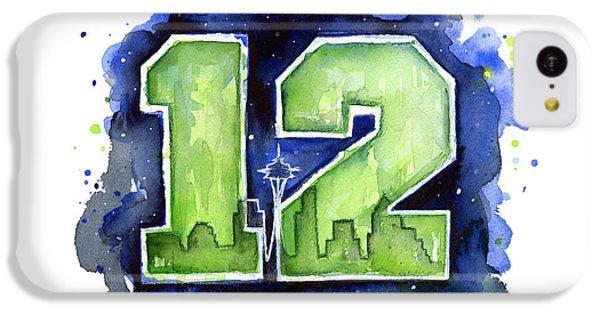 Seattle iPhone 5c Case - 12th Man Seahawks Art Seattle Go Hawks by Olga Shvartsur