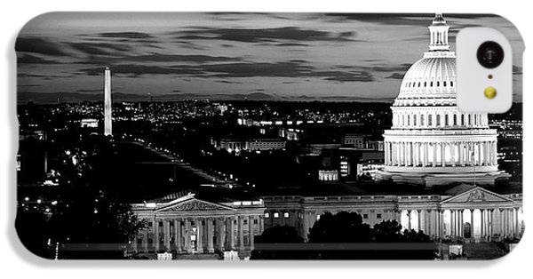 Capitol Building iPhone 5c Case - High Angle View Of A City Lit by Panoramic Images