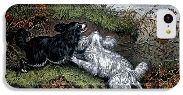 Woodcock iPhone 5c Case - 1860s Two Spaniel Dogs Flushing by Vintage Images