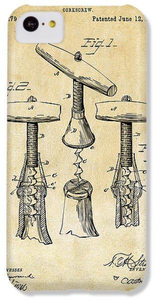 1883 Wine Corckscrew Patent Art - Vintage Black IPhone 5c Case by Nikki Marie Smith