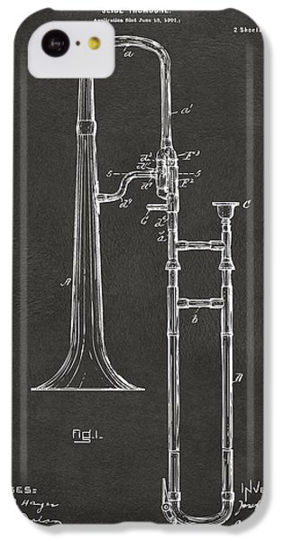 Trombone iPhone 5c Case - 1902 Slide Trombone Patent Artwork - Gray by Nikki Marie Smith