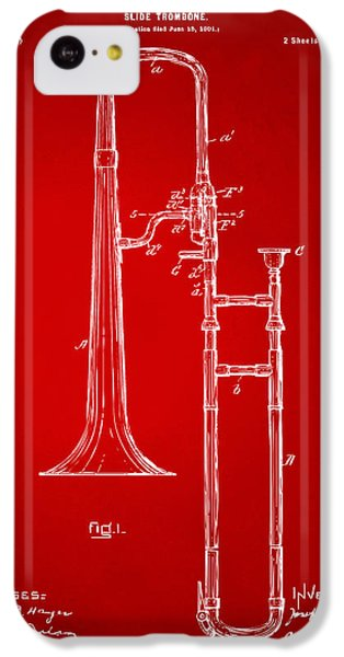 Trombone iPhone 5c Case - 1902 Slide Trombone Patent Artwork Red by Nikki Marie Smith