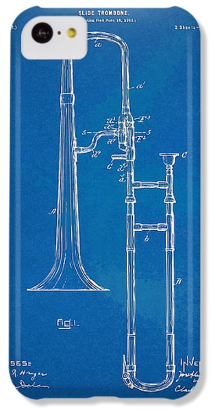 Trombone iPhone 5c Case - 1902 Slide Trombone Patent Blueprint by Nikki Marie Smith