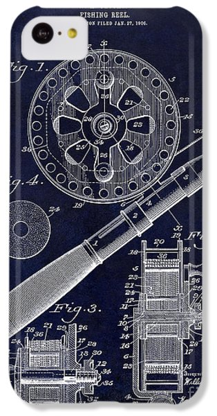 1906 Fishing Reel Patent Drawing Blue IPhone 5c Case by Jon Neidert