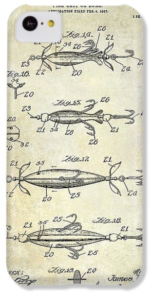 1907 Fishing Lure Patent IPhone 5c Case by Jon Neidert