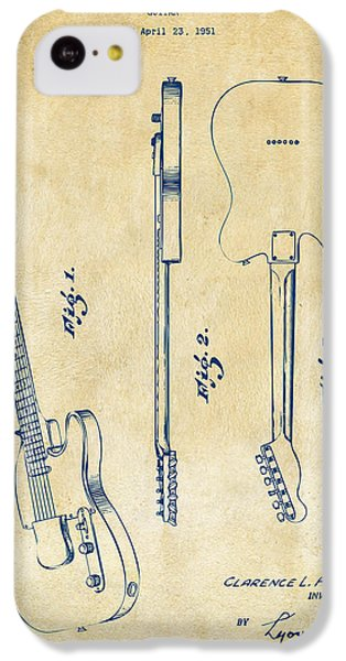Guitar iPhone 5c Case - 1951 Fender Electric Guitar Patent Artwork - Vintage by Nikki Marie Smith