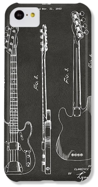 Guitar iPhone 5c Case - 1953 Fender Bass Guitar Patent Artwork - Gray by Nikki Marie Smith