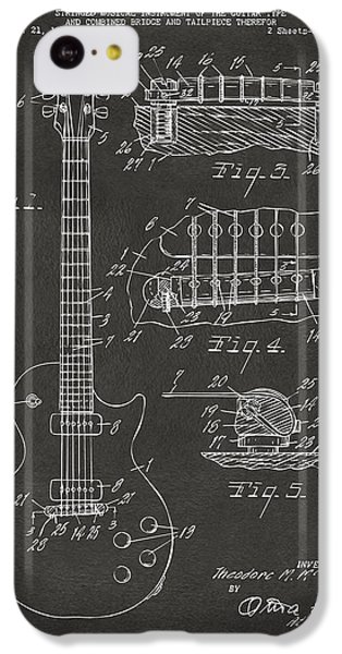 Guitar iPhone 5c Case - 1955 Mccarty Gibson Les Paul Guitar Patent Artwork - Gray by Nikki Marie Smith