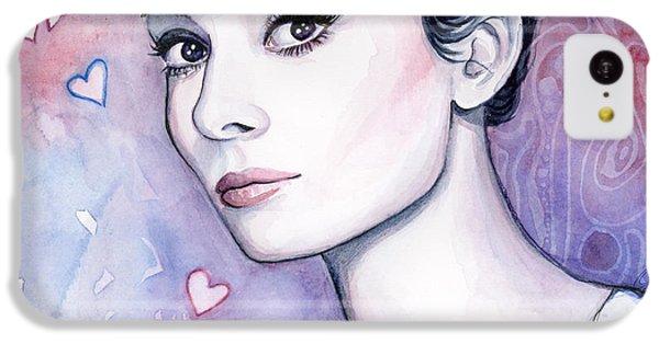 Audrey Hepburn Fashion Watercolor IPhone 5c Case by Olga Shvartsur