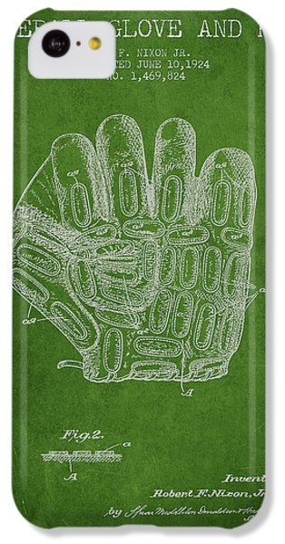 Softball iPhone 5c Case - Baseball Glove Patent Drawing From 1924 by Aged Pixel