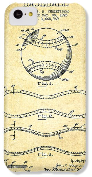Softball iPhone 5c Case - Baseball Patent Drawing From 1928 by Aged Pixel