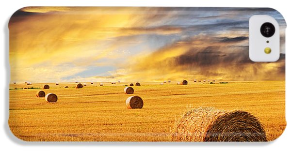 Golden Sunset Over Farm Field With Hay Bales IPhone 5c Case