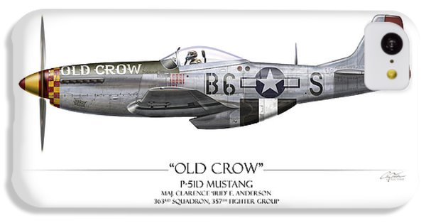 Old Crow P-51 Mustang - White Background IPhone 5c Case by Craig Tinder
