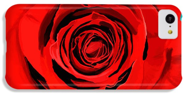 Valentines Day iPhone 5c Case - Painting Of Single Rose by Setsiri Silapasuwanchai