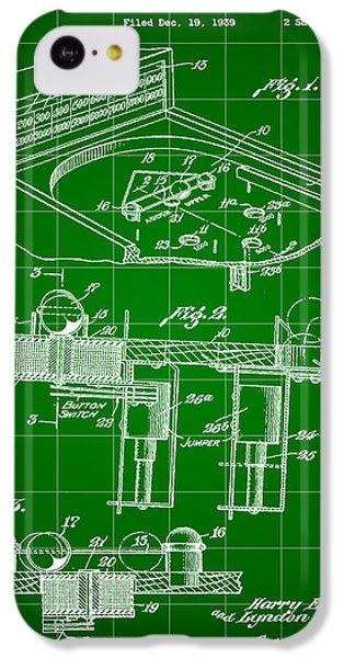 Pinball Machine Patent 1939 - Green IPhone 5c Case by Stephen Younts