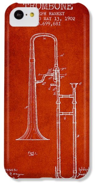 Trombone Patent From 1902 - Red IPhone 5c Case by Aged Pixel