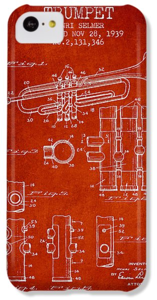 Trumpet Patent From 1939 - Red IPhone 5c Case by Aged Pixel