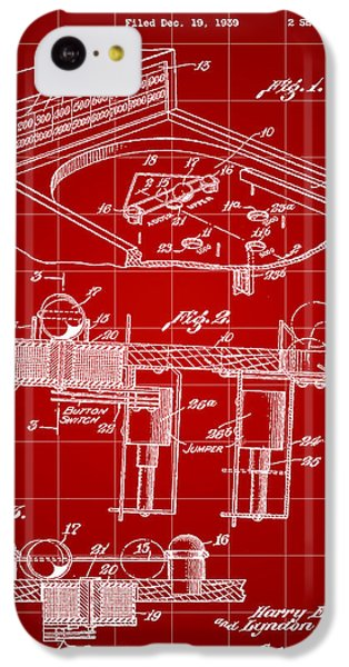 Pinball Machine Patent 1939 - Red IPhone 5c Case by Stephen Younts