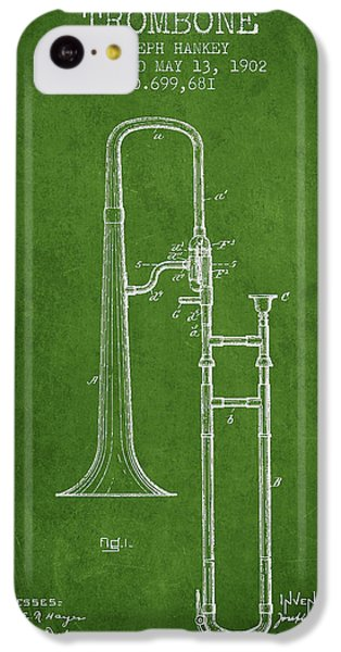 Trombone iPhone 5c Case - Trombone Patent From 1902 - Green by Aged Pixel