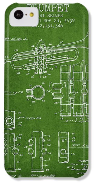 Trumpet Patent From 1939 - Green IPhone 5c Case by Aged Pixel