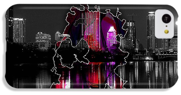 Austin Map And Skyline Watercolor IPhone 5c Case by Marvin Blaine
