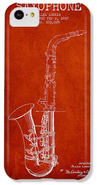 Saxophone Patent Drawing From 1937 - Red IPhone 5c Case by Aged Pixel