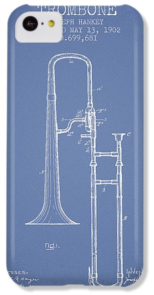 Trombone iPhone 5c Case - Trombone Patent From 1902 - Light Blue by Aged Pixel