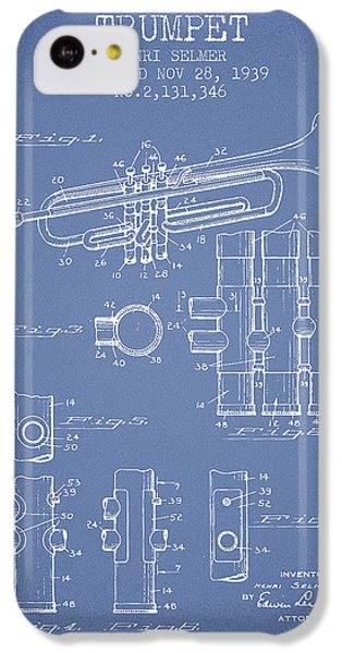 Trumpet iPhone 5c Case - Trumpet Patent From 1939 - Light Blue by Aged Pixel
