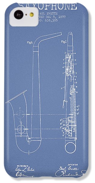 Saxophone Patent Drawing From 1899 - Light Blue IPhone 5c Case by Aged Pixel