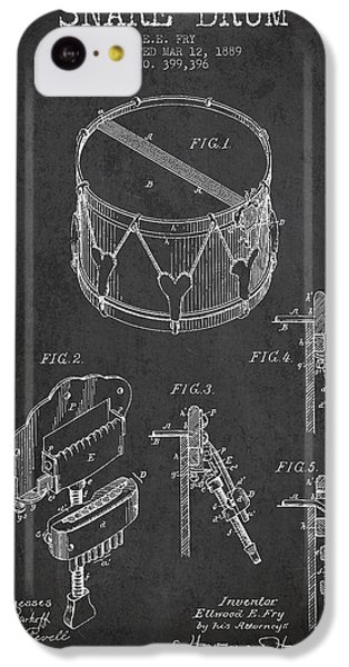 Drum iPhone 5c Case - Vintage Snare Drum Patent Drawing From 1889 - Dark by Aged Pixel
