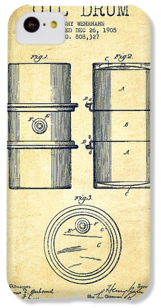Drum iPhone 5c Case - Oil Drum Patent Drawing From 1905 by Aged Pixel