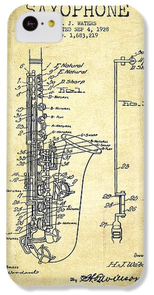 Saxophone iPhone 5c Case - Saxophone Patent Drawing From 1928 by Aged Pixel