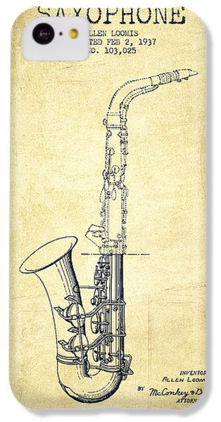 Saxophone Patent Drawing From 1937 - Vintage IPhone 5c Case by Aged Pixel