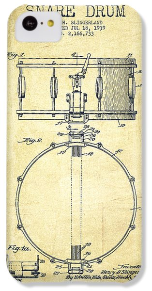 Drum iPhone 5c Case - Snare Drum Patent Drawing From 1939 - Vintage by Aged Pixel