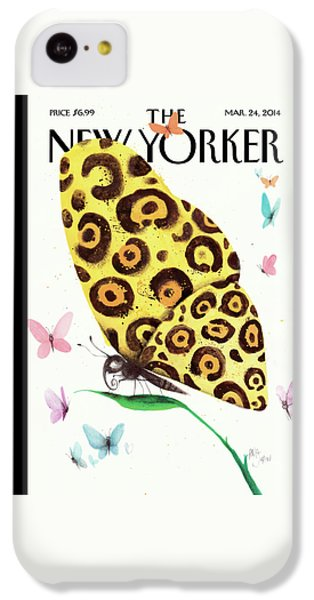 A Butterfly With A Cheetah Pattern Rests IPhone 5c Case