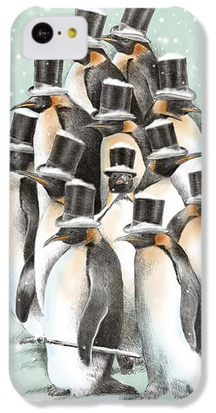 Penguin iPhone 5c Case - A Gathering In The Snow by Eric Fan
