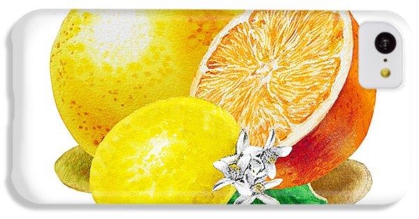 IPhone 5c Case featuring the painting A Happy Citrus Bunch Grapefruit Lemon Orange by Irina Sztukowski