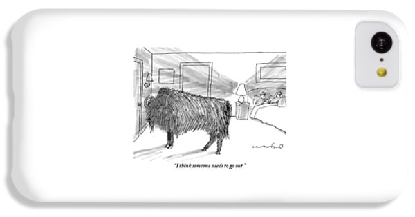 A Large Buffalo Stands Near The Door IPhone 5c Case