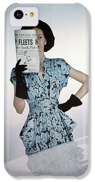 A Model Wearing A Floral Blue Dress IPhone 5c Case by Constantin Joff?