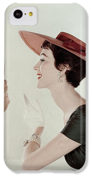 A Model Wearing A Sun Hat And Dress IPhone 5c Case by John Rawlings